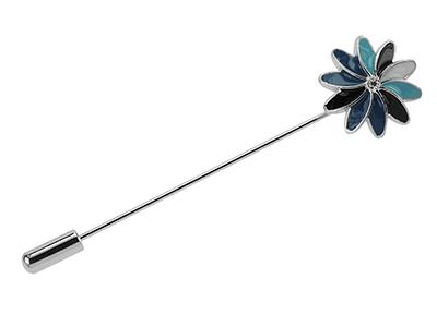 LP54-7R Men Long Needle Flower Lapel Pin