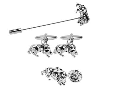 TN-1863R Silver Bull Animal Cufflinks Pin Sets