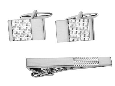 TN-874R2 Brush Silver Grid Cufflinks and Tie Clip Set