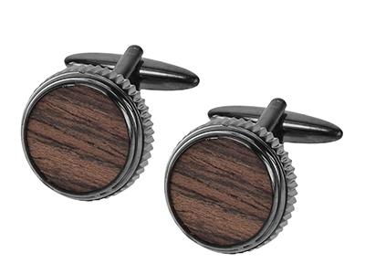 1874-5GM Gunmetal Round Wooden Cufflinks Men