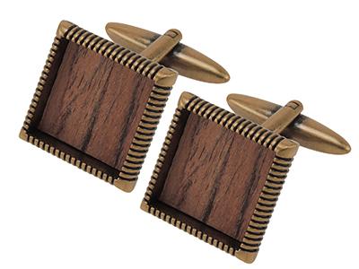 1463-3GA Fashion Men Wooden Bronze Cufflink