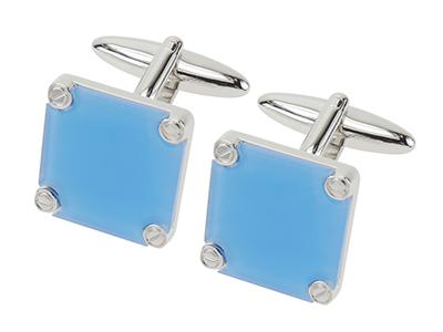 620-20R Direct Factory Blue Square Plastic Cufflinks