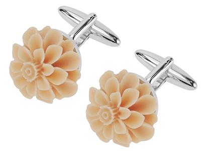 1867-8R Resin Flower Wedding Cufflinks