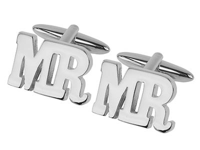 658-12R Silver Letter Cufflinks for Wedding