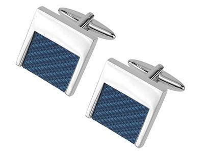 652-7R Unique Designer Blue Carbon Fiber Cufflinks