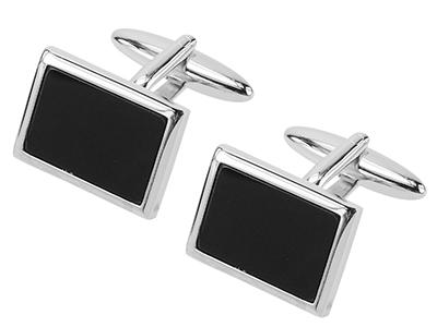 235-10R Black Plastic Rectangle Cufflinks
