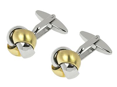 14-9RG2 Rhodium and Brush Gold Knot Cufflinks