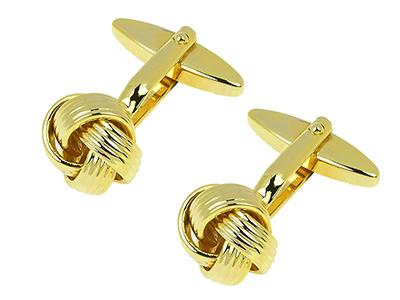 148-4G Gold Metal Love Knot Cufflinks