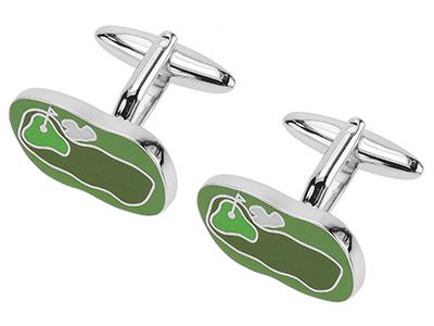 614-21R Green Enamel Golf Course Sports Cufflinks