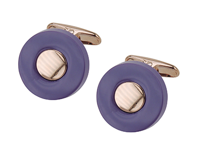 658-8Y/Z Rose Gold with Purple Resin Cufflinks