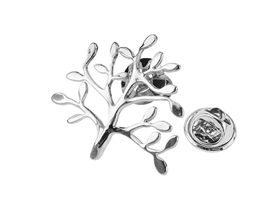 TP62-17R Silver Tree Branch Lapel Pins