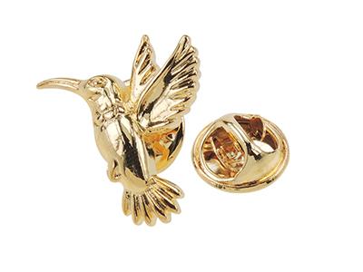 TP56-22G Cute Gold Hummingbird Animal Lapel Pin
