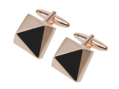 603-8Y1 Rose Gold Triangle Black Plastic Cufflinks