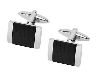 R7-COM-10 Black Stripe Square Cufflinks