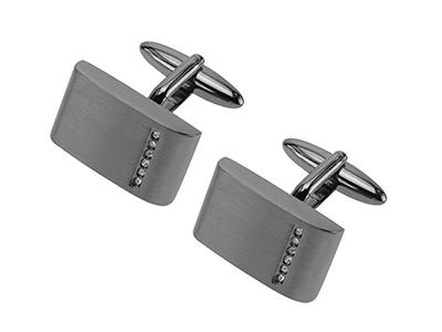 607-3GM1 Gunmetal Pave Crystal Cuff links
