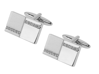 617-15R2 Sliver Metal Brass Mens Cufflinks