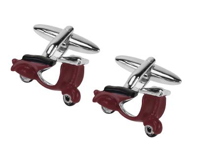 TN-387R Red Enamel Motorcycle Motorbike Cufflinks