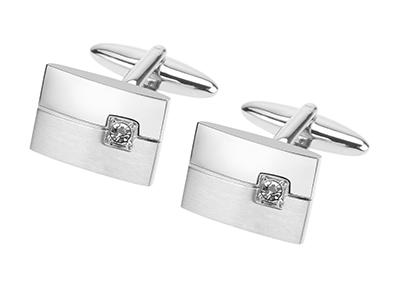 606-6R2 Two Tone Crystal Inlaid Wedding Cufflinks