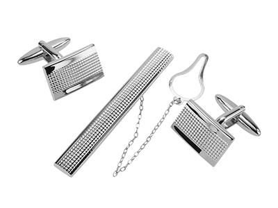 TN-2371R+161-24R Silver Grid Cufflinks and Tie Clip Set