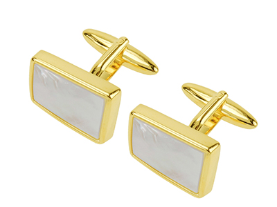 616-3G Gold Plated Mother of Pearl Cufflinks