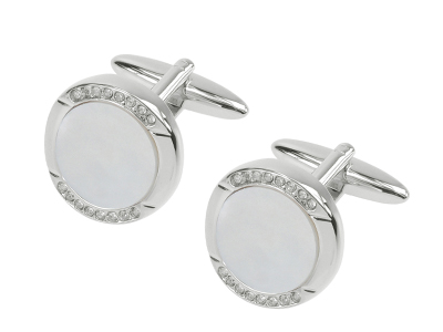 612-5R Unique Crystal and Mother of Pearl Round Cufflinks