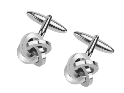 633-14R Metal Love Knot Value Silver Cufflinks