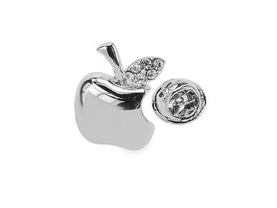 TP1-20R Silver Fashion Crystal Apple Suit Lapel Pins