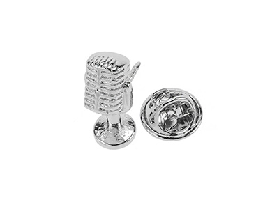 TP1-19R Silver Musical Microphone Lapel Pins