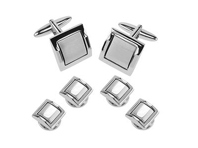 234-24R2 Metal Brass Square Shiny Sliver Set