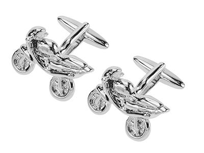 1861-18R Silver Racing Motorbike Cufflinks