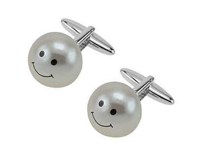 652-13R White Pearl Ball Cufflinks