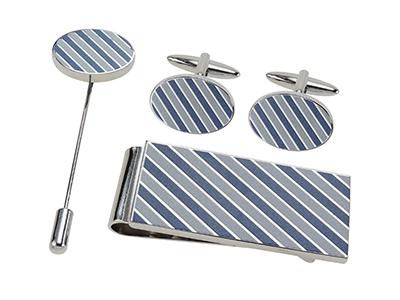 SET1464-18R Blue Tonal Diagonal Stripes Set