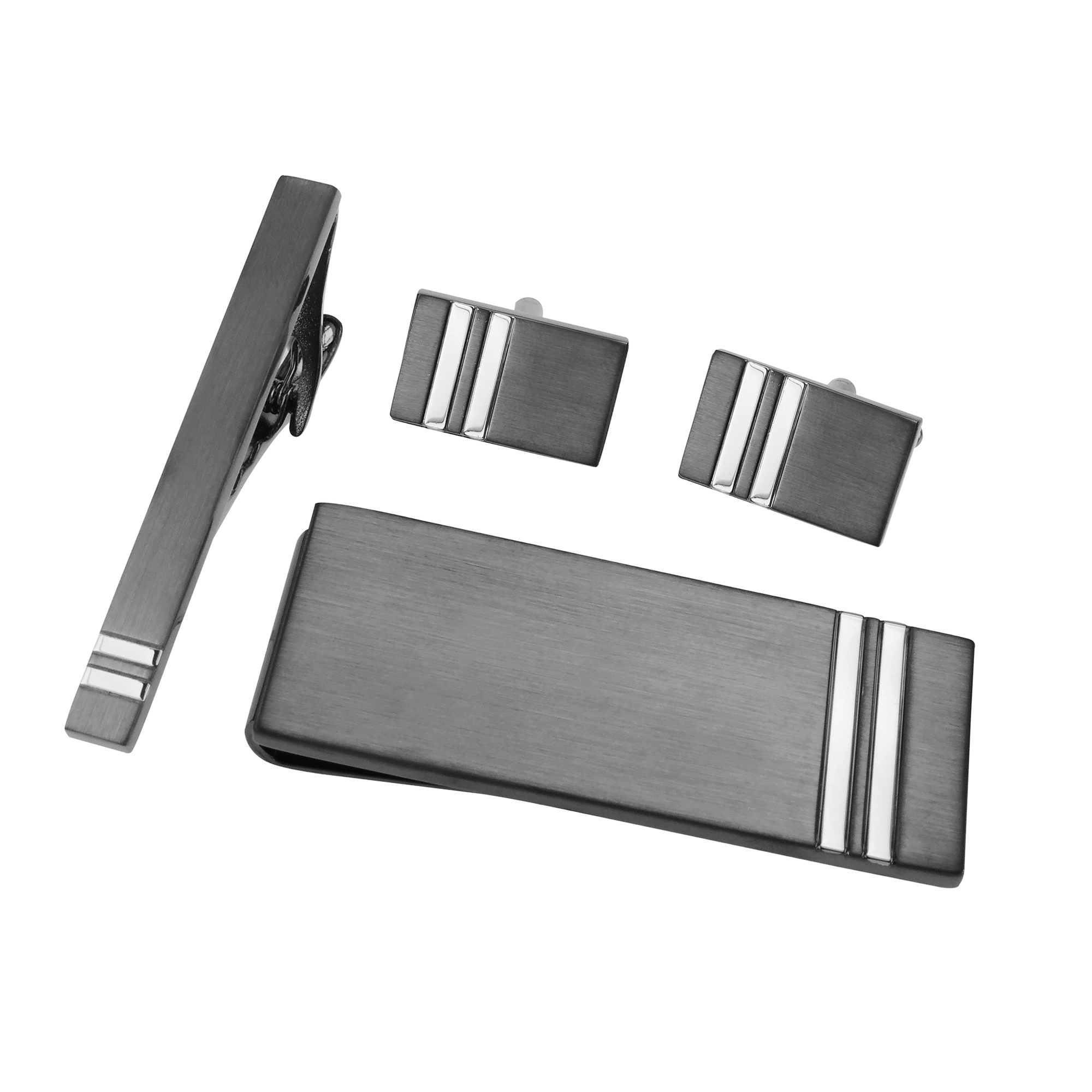 SET643-15GMR1 Gunmetal and Silver Rectangular Set
