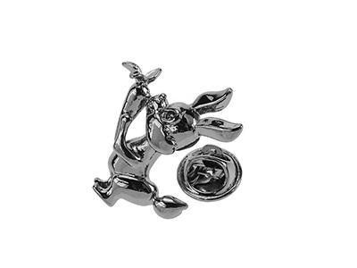 TP1-11GM Brass Metal Silver Rabbit Lapel Pin