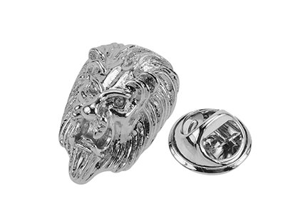 TP54-5R Silver Brass Antique Lion Head Lapel Pin