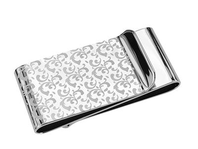 MC2-8R2 Engraved Metal Silver Art Money Clip