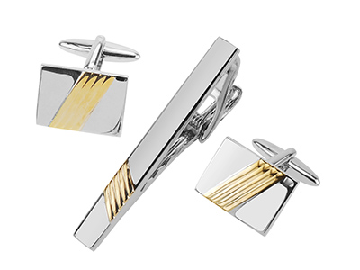 TN-2495RG+631-15RG Silver and Gold Repp Stripe Sets