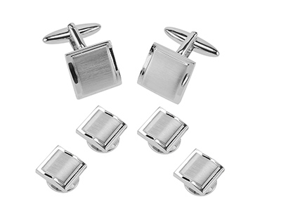 SETTN-1493R2 Wavy Polished and Brushed Silver Set
