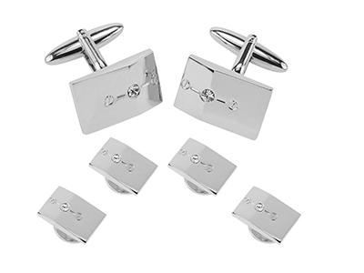 SETTN-1494R Silver Crystal Screw Cufflinks and Studs Set