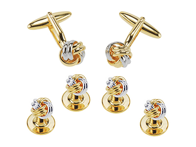 SETTN-1496GR Metal Knot Cufflinks and Studs Sets