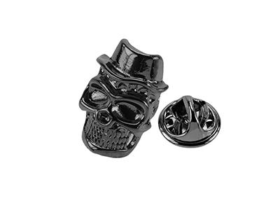 629-11GM/TP Metal Mens Black Skull Lapel Pin