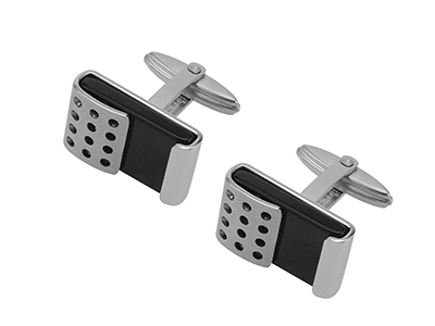 SS-315R2 Stainless Steel Metal Black Stone Cufflinks