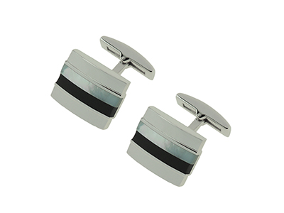 SS-275R Mother of Pearl and Onyx Stripes Cufflink