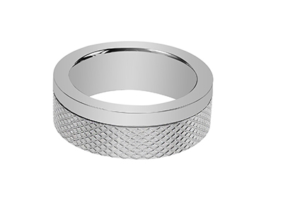 R7-COM-06 Stainless Steel Diamond Texture Ring
