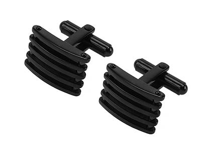SS-288BK1 Black Square Metal Curved Stripes Cufflink