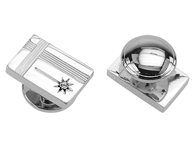 STTN-1500R Crystal Star Silver Rectangular Studs