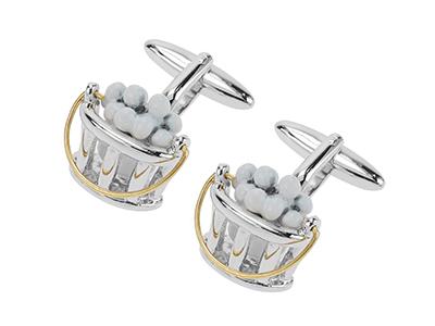 614-24RG Novelty Custom White Cufflinks
