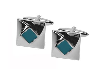 1464-15R Elegant Design Blue Epoxy Cufflinks