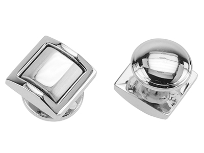 ST234-24R2 Faceted Rhodium Plated Studs