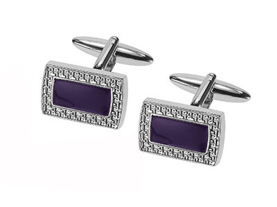 669-24R Elegant Design Purple Men Cufflinks